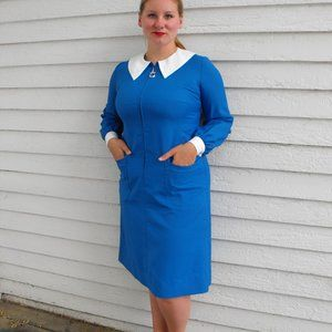60s Mod Dress Blue Zipper White Collar Vintage L